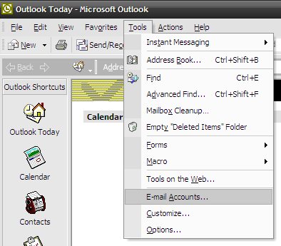 Microsoft Outlook 2003 - Tools - Wybierz opcję E-mail Accounts