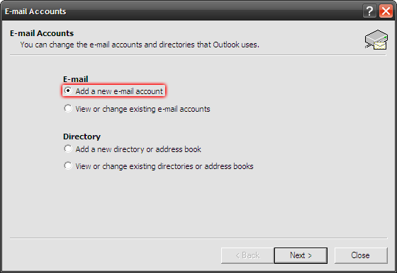Microsoft Outlook 2003 - Tools - E-mail Accounts - Zaznacz opcję Add a new e-mail account