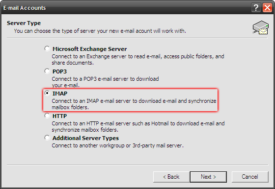 Microsoft Outlook 2003 - Tools - E-mail Accounts - Wybierz opcję IMAP