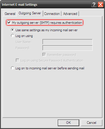 Microsoft Outlook 2003 - Tools - E-mail Accounts - Internet E-mail Settings (IMAP) - Zaznacz dwie opcje My outgoing server (SMTP) requires authentication i Use same settings as my incoming mail server