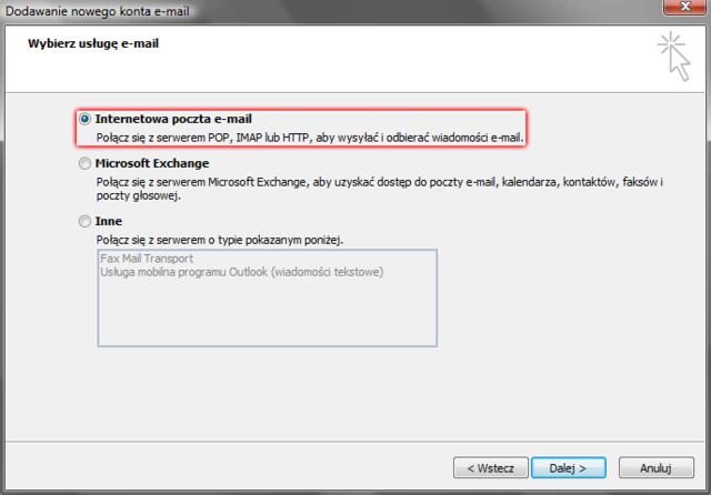 c3017fc5d01696 Microsoft Outlook 2007 - Narzędzia - Ustawienia kont - Konta e-mail - Nowy -