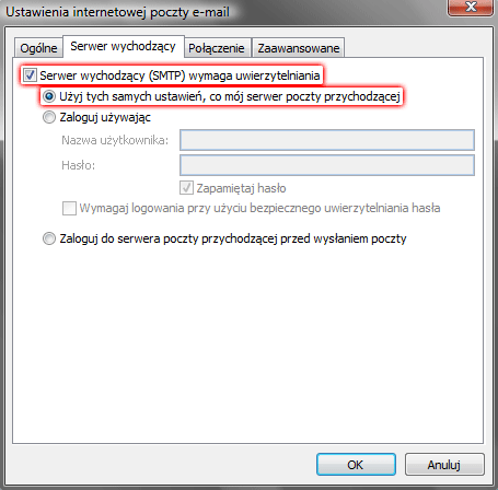 Microsoft Outlook 2007 - Narzędzia - Ustawienia kont - Konta e-mail - Nowy - Dodanie nowego konta e-mail - Ustawienia internetowej poczty e-mail - Więcej ustawień - Zaznacz dwie opcje Serwer wychodzący (SMTP) wymaga uwierzytelnienia i Użyj tych samych ustawień, co mój serwer poczty przychodzącej