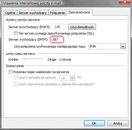 Microsoft Outlook 2007 - Narzędzia - Ustawienia kont - Konta e-mail - Nowy - Dodanie nowego konta e-mail - Ustawienia internetowej poczty e-mail - Więcej ustawień - W polu Serwer wychodzący (SMTP) wpisz numer portu