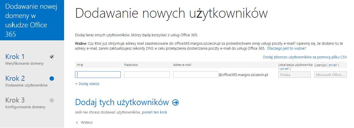 Panel Klienta - Domeny - Dodaj domenę - Krok 2 - Za pomocą formularza dodaj użytkowników