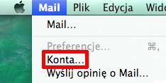 Program Mail - Mail - Wybierz opcje Konta