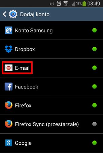Android - Konta - Dodaj konto - Wybierz opcję E-mail