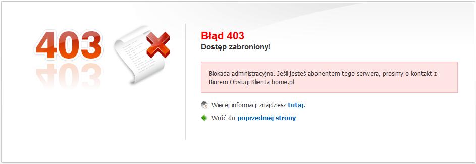 Komunikat błędu 403, który wyświetlany jest po wywołaniu zasobu zablokowanego serwera w home.pl