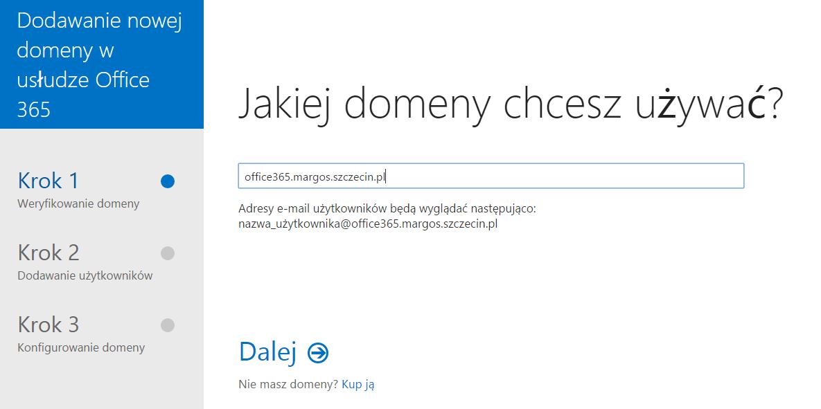 Panel Klienta - Domeny - Dodaj domenę - Na wyświetlonym formularzu wpisz nazwę domeny