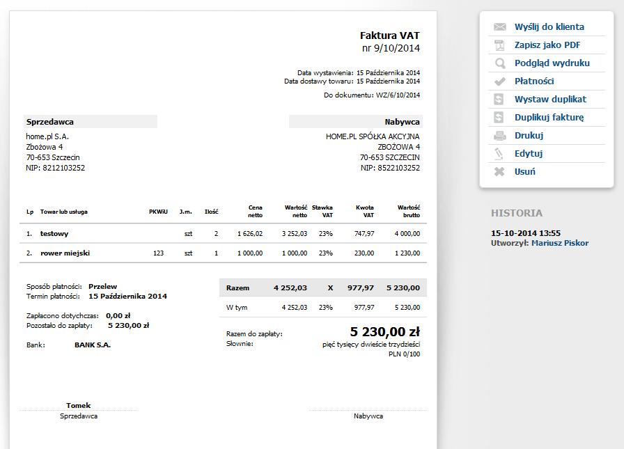 eKsięgowość - Dokumenty - Sprzedaż - Wystaw fakturę - Formularz - Zapisz fakturę - Przykładowy podgląd wystawionej faktury