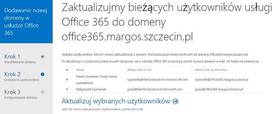 Panel Klienta - Domeny - Dodaj domenę - Krok 2 - Zaznacz wybranych użytkowników i kliknij przycisk Aktualizuj wybranych użytkowników