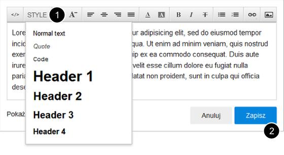 Click Web - Editor 7 - Dodaj tekst - Normalny - Blok tekstu - Okno edytora - Z menu Style wybierz styl dla tekstu