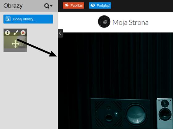 Click Web - Editor 7 - Obrazy - Dodaj obrazy - Wybierz pliki - Przeciągnij i upuść wybrany obraz na Twoją stronę WWW
