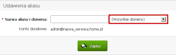 Panel Klienta - Usługi - Nazwa serwera - Na skróty - Dodaj alias - Wpisz nazwę aliasu i wybierz domenę