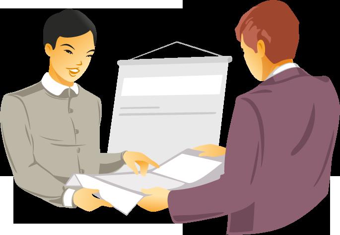 dogadamycie.pl - obrazek przedstawiający osobę, która tłumaczy dokument dla drugiej osoby