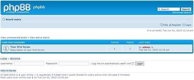Autoinstalator - Lista - Forum dyskusyjne - Przykładowa instalacja forum pod phpBB