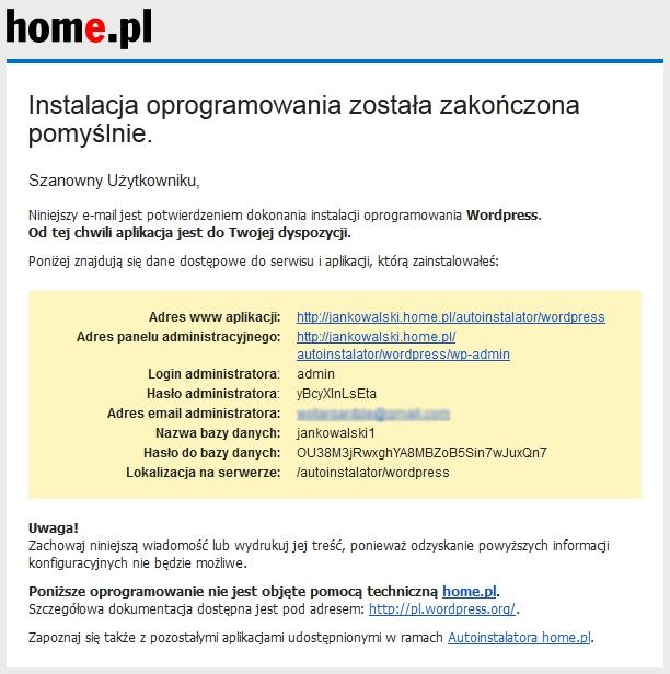 Przykładowa wiadomość e-mail, która wysyłana jest do administratora serwisu po zakończonej instalacji