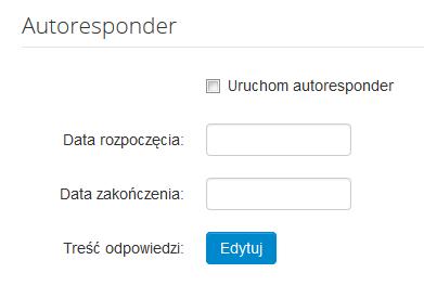 Poczta home.pl - Ustawienia - Opcje konta - Zmień ustawienia funkcji Autoresponder dla skrzynki e-mail