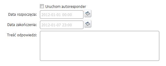 Panel klienta - Usługi - Lista usług - Lista usług powiązanych - Konfiguracja usługi - Konfiguruj pocztę - Opcje konta - Zdefiniuj datę rozpoczęcia oraz zakończenia dla funkcjonowania autorespondera