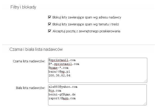Poczta home.pl - Ustawienia - Zabezpieczenia antyspamowe - Czarna i biała lista nadawców