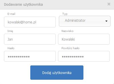 eKsięgowość - Ustawienia - Użytkownicy - Dodaj użytkownika - Podaj dane nowego użytkownika
