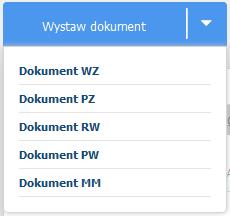 eKsięgowość - Magazyn - Dokumenty - Kliknij przycisk Wystaw dokument i wybierz rodzaj dokumentu