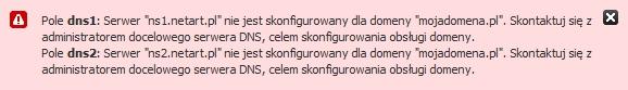 Panel Klienta - Konfiguruj - Błąd podczas delegacji domeny na zewnętrzne serwery DNS - Skontaktuj się z administratorem serwera