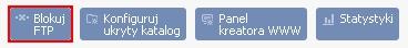 Panel Klienta - Usługi - Nazwa serwera - Mini-Podgląd Usługi - Konfiguracja usługi - Kliknij przycisk Blokuj FTP