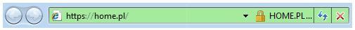 Przykład pasku adresu w przeglądarce Internet Explorer 8 dla domeny szyfrowanej certyfikatem SSL homeSSL Premium EV