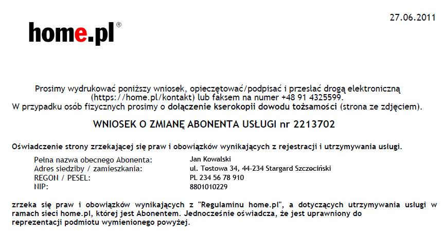 Cesja - Wniosek o zmianę abonenta usług - Przykładowa zawartość pobranego pliku PDF