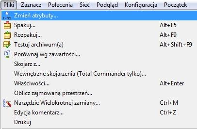 Total Commander - Połączenie z serwerem FTP - Wybrany plik / katalog - Wybierz opcję menu Pliki i kliknij Zmień atrybuty