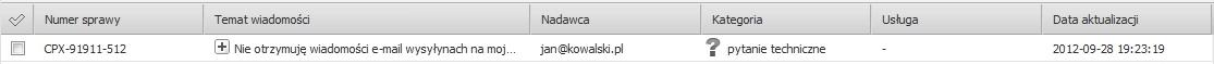 Panel Klienta - Centrum Pomocy - Wiadomości i komunikaty - Wykaz korespondencji - Przykładowa korespondencja wyświetlona w Panelu Klienta home.pl