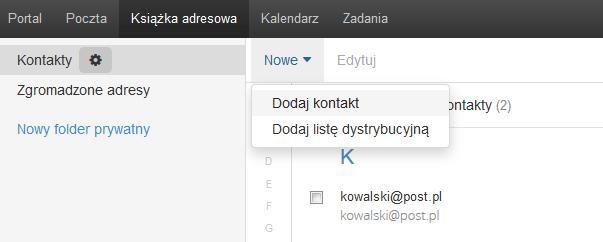 Poczta home.pl - Książka adresowa - Nowe - Wybierz opcję Dodaj kontakt