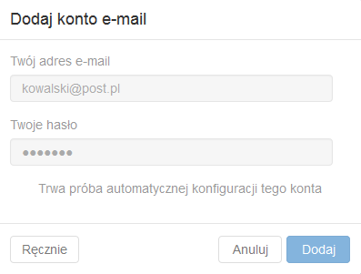 Poczta home.pl - Dodaj konto e-mail - Uzupełnij formularz dla nowego konta zewnętrznego