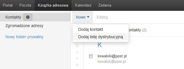 Poczta home.pl - Książka adresowa - Nowe - Wybierz opcję Dodaj listę dystrybucyjną