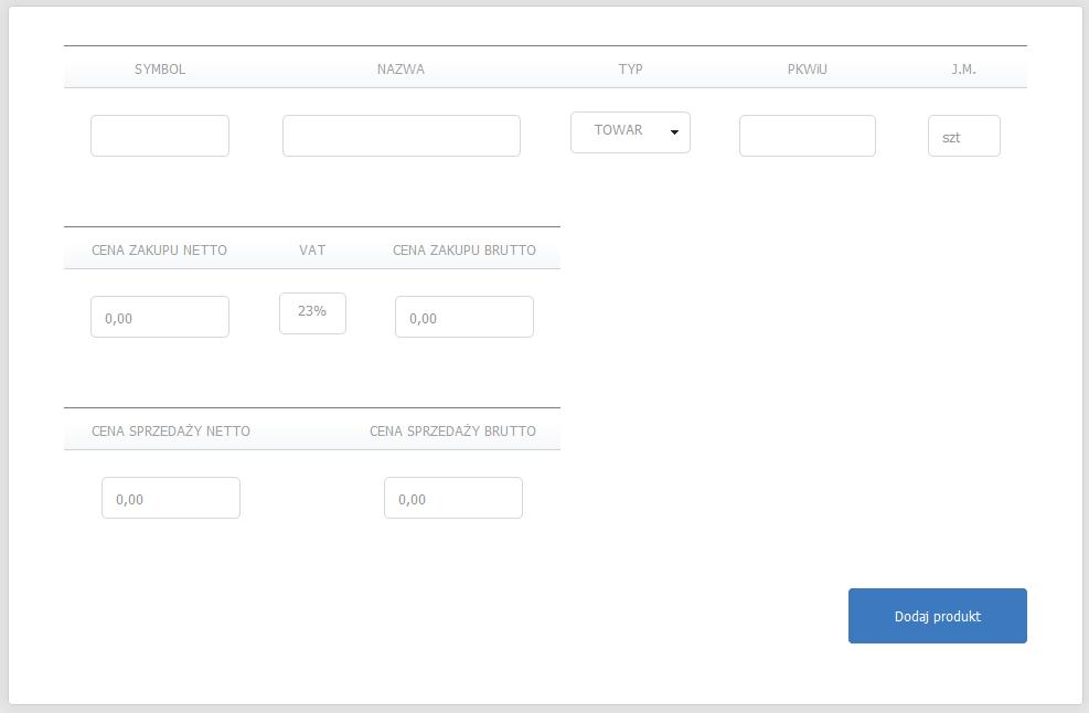 eKsięgowość - Magazyn - Produkty - Lista - Dodaj produkt - Uzupełnij formularz