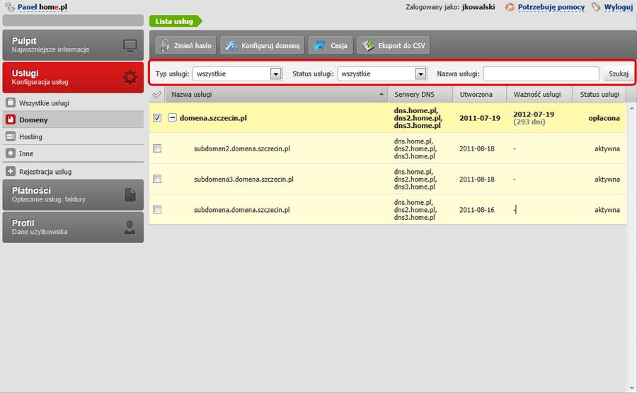 Panel klienta - Usługi - Domeny - Za pomocą Wyszukiwarki usług znajdź wybraną domenę