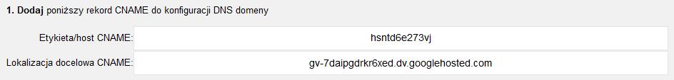 Narzędzia dla webmasterów - Dodaj witrynę - Metody alternatywne - Dostawca nazwy domeny - Dodaj - Zawartość rekordu CNAME