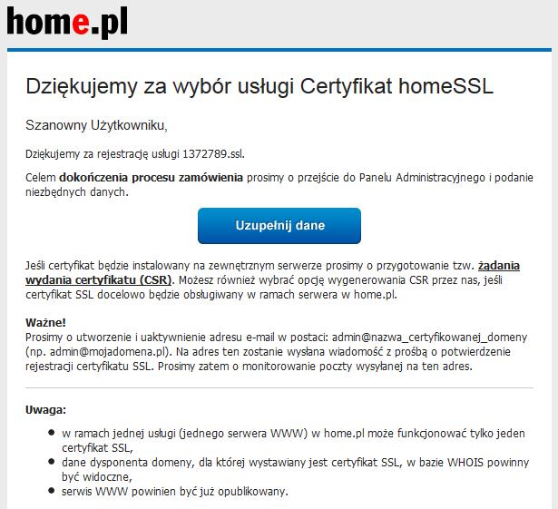 Jak aktywować certyfikat SSL w Panelu home.pl?