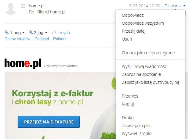 Poczta home.pl - Skrzynka odbiorcza - Wiadomość e-mail - Działania - Przykładowe okno z zawartością wiadomości e-mail z zaznaczonymi dostępnymi opcjami
