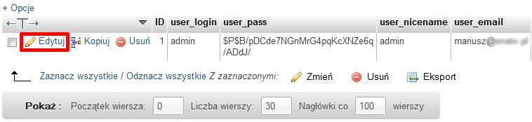 edytujsql - Co zrobić, jeśli nie pamiętam hasła do panelu WordPress?