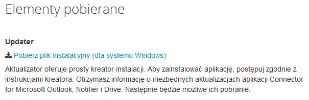 Poczta home.pl - Ikona koła zębatego - Ustawienia - Elementy pobierane - Kliknij link Pobierz plik instalacyjny (dla systemu Windows)
