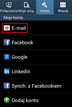 Android - Konta - Wybierz opcję E-mail