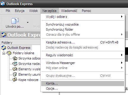 Microsoft Outlook Express - Narzędzia - Wybierz opcje Konta