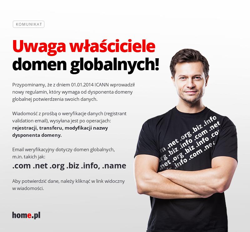 Komunikat dla właścicieli domen globalnych - E-mail weryfikacyjny