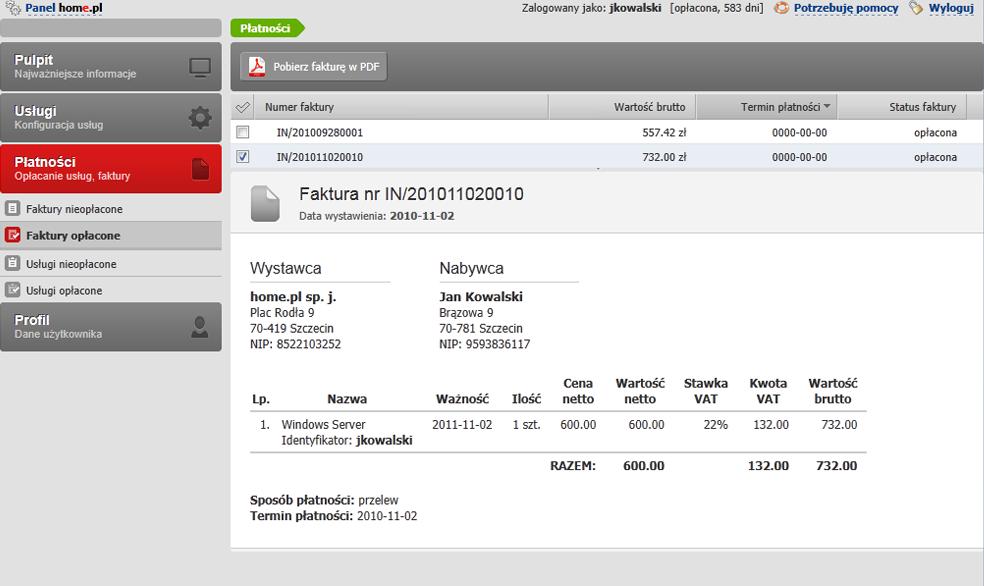 Panel klienta - Płatności - Faktury opłacone - Miejsce podglądu faktury VAT (obrazu faktury VAT) w Panelu klienta home.pl