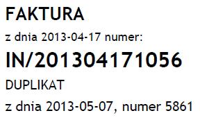 Przykład danych, które będą zawarte na duplikacie faktury VAT
