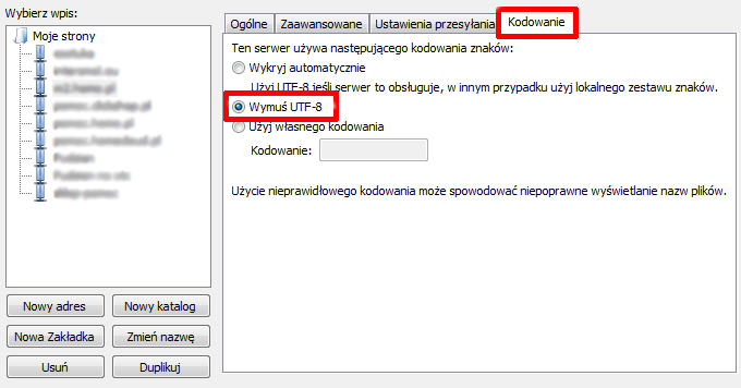 FileZilla - Ustawienia połączenia - Kodowanie - Zaznacz opcje Wymuś kodowanie UTF-8