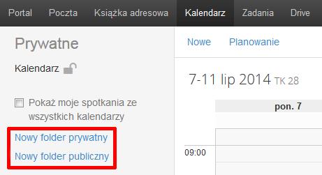 Poczta home.pl - Kalendarz - Wybierz jedną z opcji Nowy folder prywatny lub Nowy folder publiczny