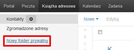 Poczta home.pl - Książka adresowa - Kliknij opcję Nowy folder prywatny