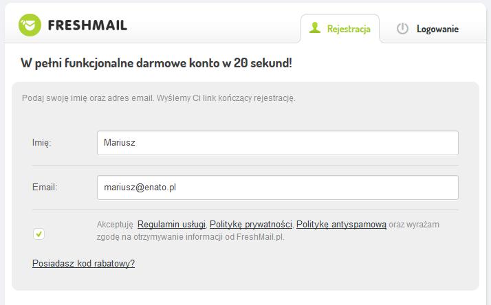 FreshMail - Załóż darmowe konto - Wypełnij formularz rejestracji